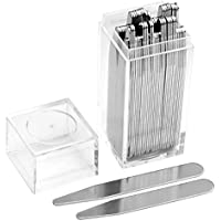 PiercingJ 40PCS Stainless Steel Collar Stays - 2 Regular Sizes In a Clear Plastic Box, 2.5 inches, 2.75 inches Shirt Collar Stays for Men Husband Dad Father's Day Gift