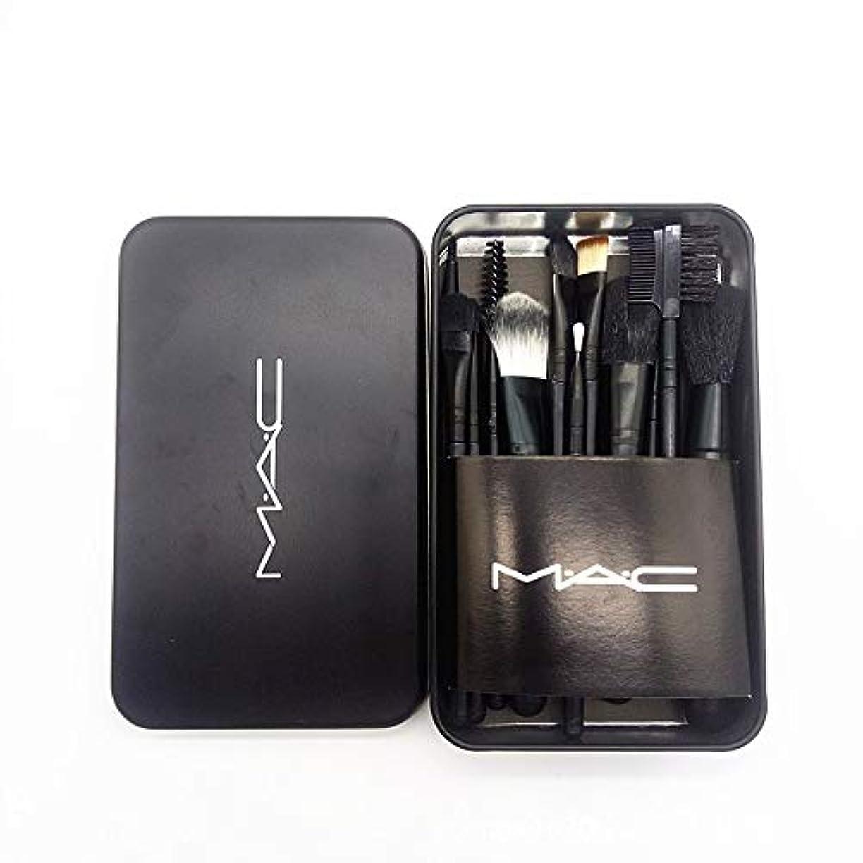 襟温帯平手打ちMAC化粧ブラシセット12アイアンボックスセットブラッシュアイシャドウファンデーションブラシプラスチックハンドル化粧ブラシ
