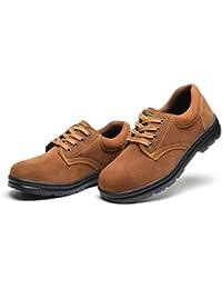 安全靴 作業用 仕事用 メンズ スエード 小さい-大きいサイズまで レースアップ スニーカー 防水性 通気性 滑り止め 耐磨耗 セーフティーシューズ ブラウン/キャメル 23.0-28.0cm