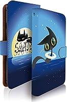 KEIO ケイオー URBANO V02 カバー 手帳型 ネコ 猫 キャット 猫柄 URBANOV02 手帳 アニメ URBANO ケース V02 ケース クロネコ 夜空 黒猫 アルバーノ 手帳型ケース ittnクロネコ夜空黒猫t0355
