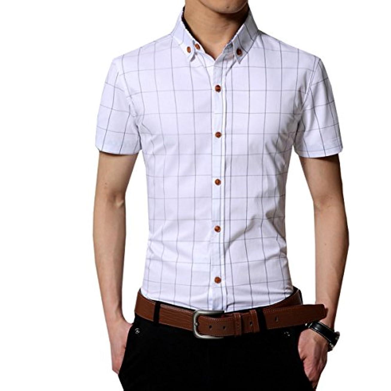 潜むオセアニア大統領ワイシャツ yシャツ メンズ 半袖 シャツ メンズ オックスフォード ボタンダウン 無地 春 秋 スリム ビジネス カジュアル
