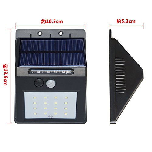 ZEEFO LED センサーライト ソーラーライト 防犯玄関ライト 人感センサー 外灯 屋外照明/駐車場/庭先/玄関