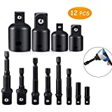 Drill Socket Adapter, Jeerbly Socket Adapter for Impact Driver Power Drill Bits Extension Set Hex Shank 1/4, 3/8, 1/2 Inch Drive