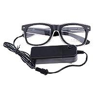 FLAMEER 全2色 LEDメガネ フラッシュメガネ LEDサングラス パーティー ハロウィン コスプレ仮装 - 白