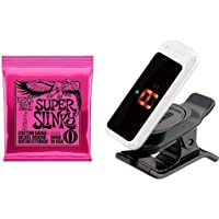 ERNIE BALL ギター弦 スーパー スリンキー (09-42) 2223 Super Slinky & クリップチューナーPC-0 ホワイト セット