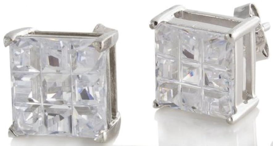 柔和ペンス段階スターリング銀使用CZ Stone Squareスタッドメンズイヤリング