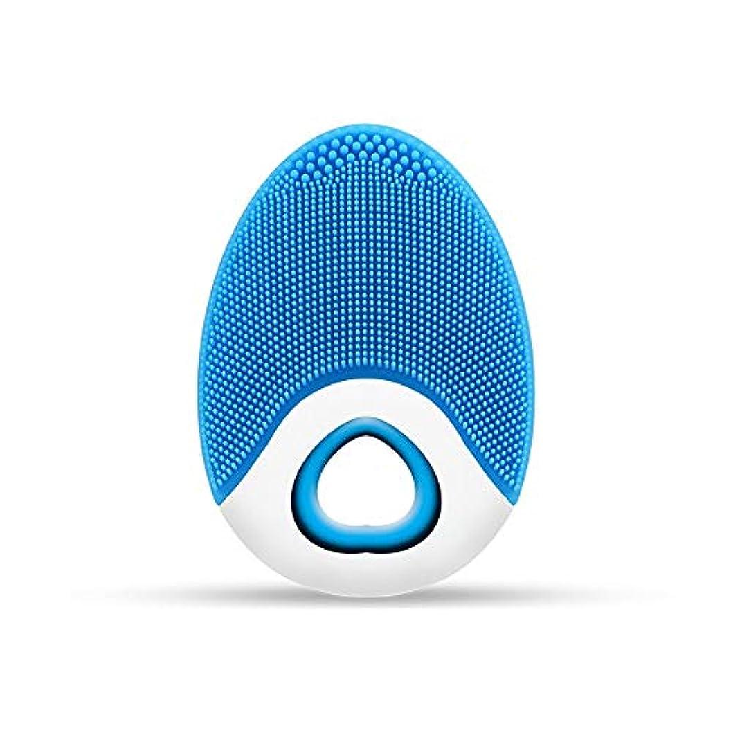中庭ジュース熱望するZXF ワイヤレス充電電気シリコーンクレンジングブラシ高周波振動防水マルチレベル調整クレンジング楽器美容器具 滑らかである (色 : Blue)