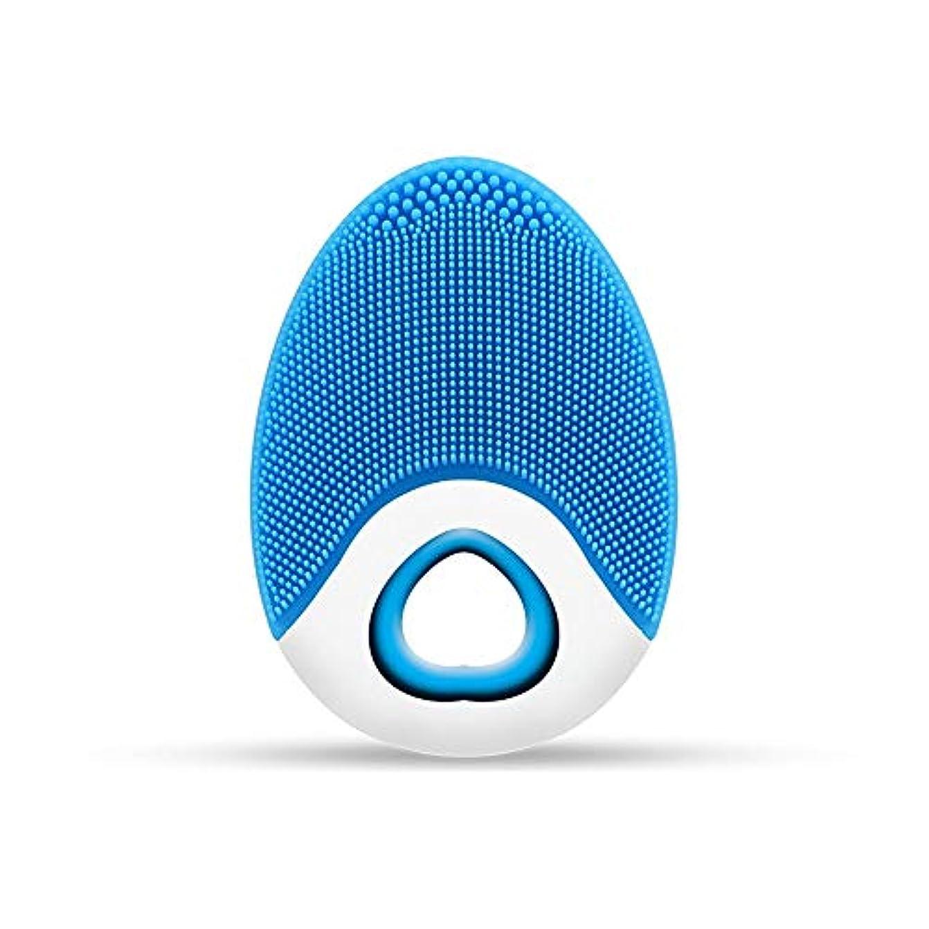 なめらかなセレナ資本ZXF ワイヤレス充電電気シリコーンクレンジングブラシ高周波振動防水マルチレベル調整クレンジング楽器美容器具 滑らかである (色 : Blue)