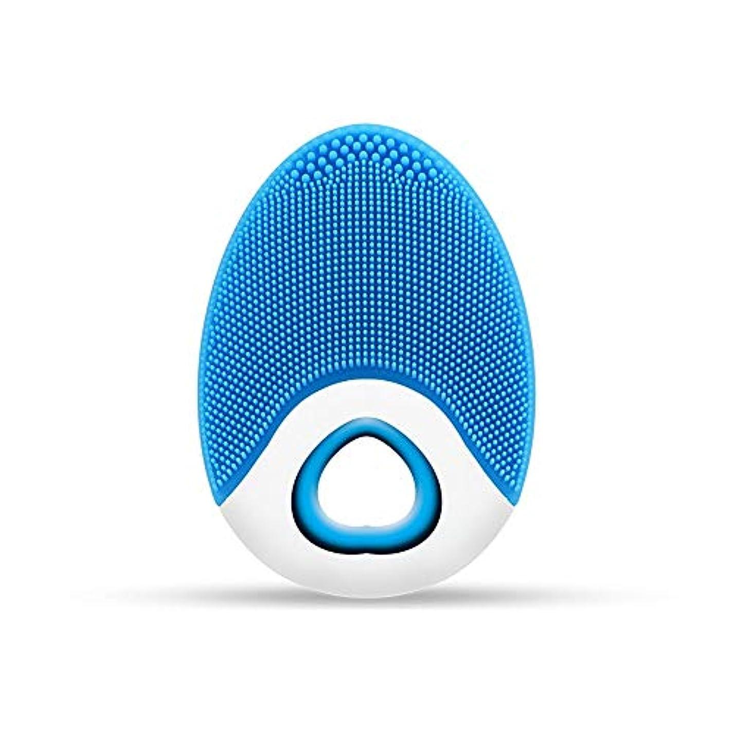 メールを書く召喚するステップZXF ワイヤレス充電電気シリコーンクレンジングブラシ高周波振動防水マルチレベル調整クレンジング楽器美容器具 滑らかである (色 : Blue)