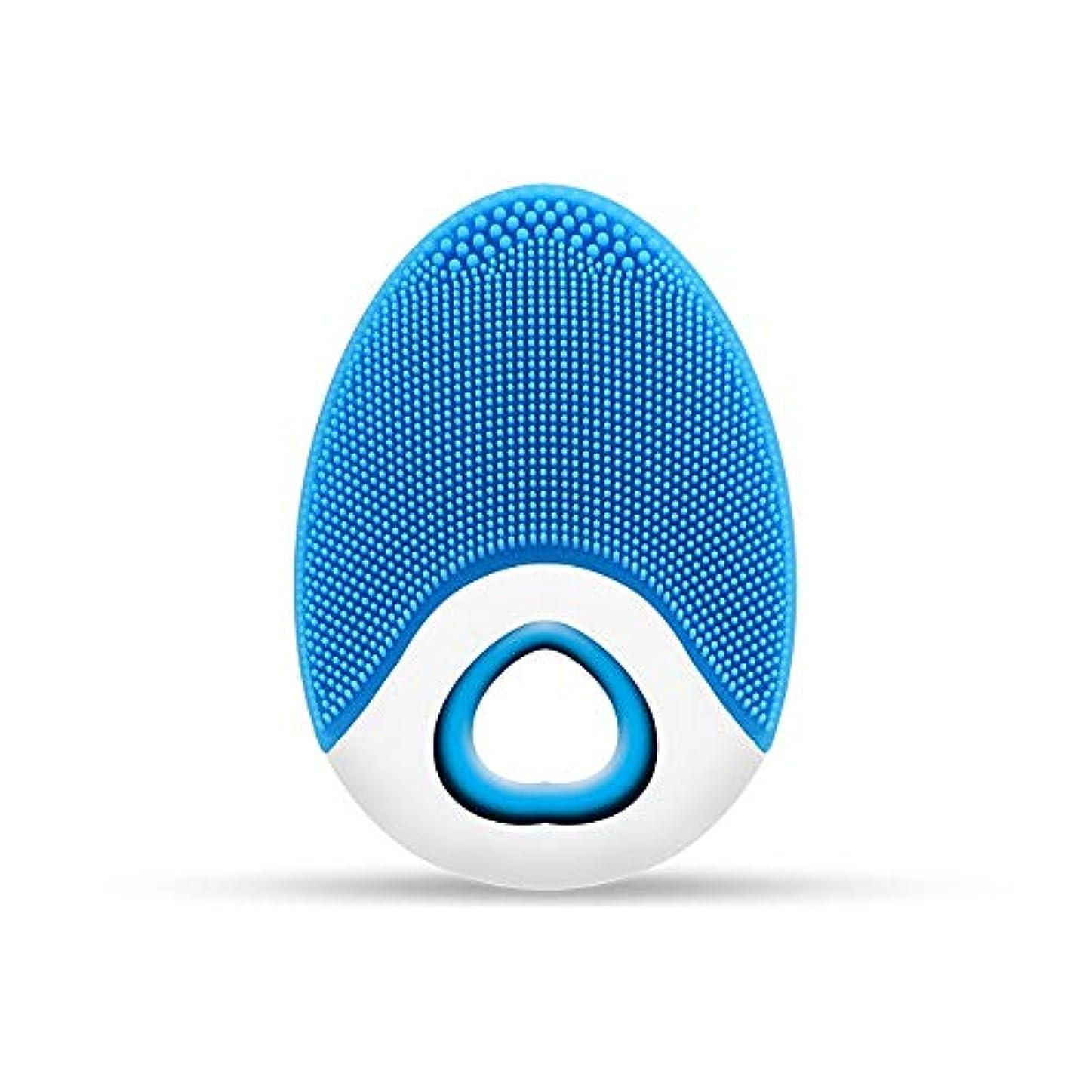 ファイアル思いやり飛ぶZXF ワイヤレス充電電気シリコーンクレンジングブラシ高周波振動防水マルチレベル調整クレンジング楽器美容器具 滑らかである (色 : Blue)