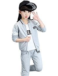 EIMEI 女の子 男の子 ジャージ 子供服 キッズ セットアップ 上下セット+tシャツ 3点セット グレー ライン シンプル 運動着 体育 ガールズ ボーイズ