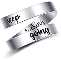 ADoor Silver Size Adjustable Ring Keep Going Personalized Engraving Jewelry Stainless Steel Inspirational Birthday Teens Girls Boys Women