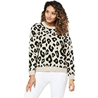 French Connection Women's Animal Knit, Oatmeal/Multi