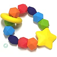 Rainbow Sensory Teether   Safe Teething Ring Free from Harmful Chemicals by Blue Rabbit Co