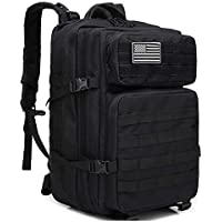 Military Large-Capacity Outdoor Portable Backpack,Rucksacks for Outdoor Hiking Camping Trekking Hunting,Travel Computer Bag,Military Tactical Backpack,45L Camouflage Multipurpose-Black