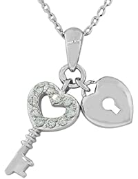 925 Sterling Silver White Heart Padlock Pendant Necklace with Chain