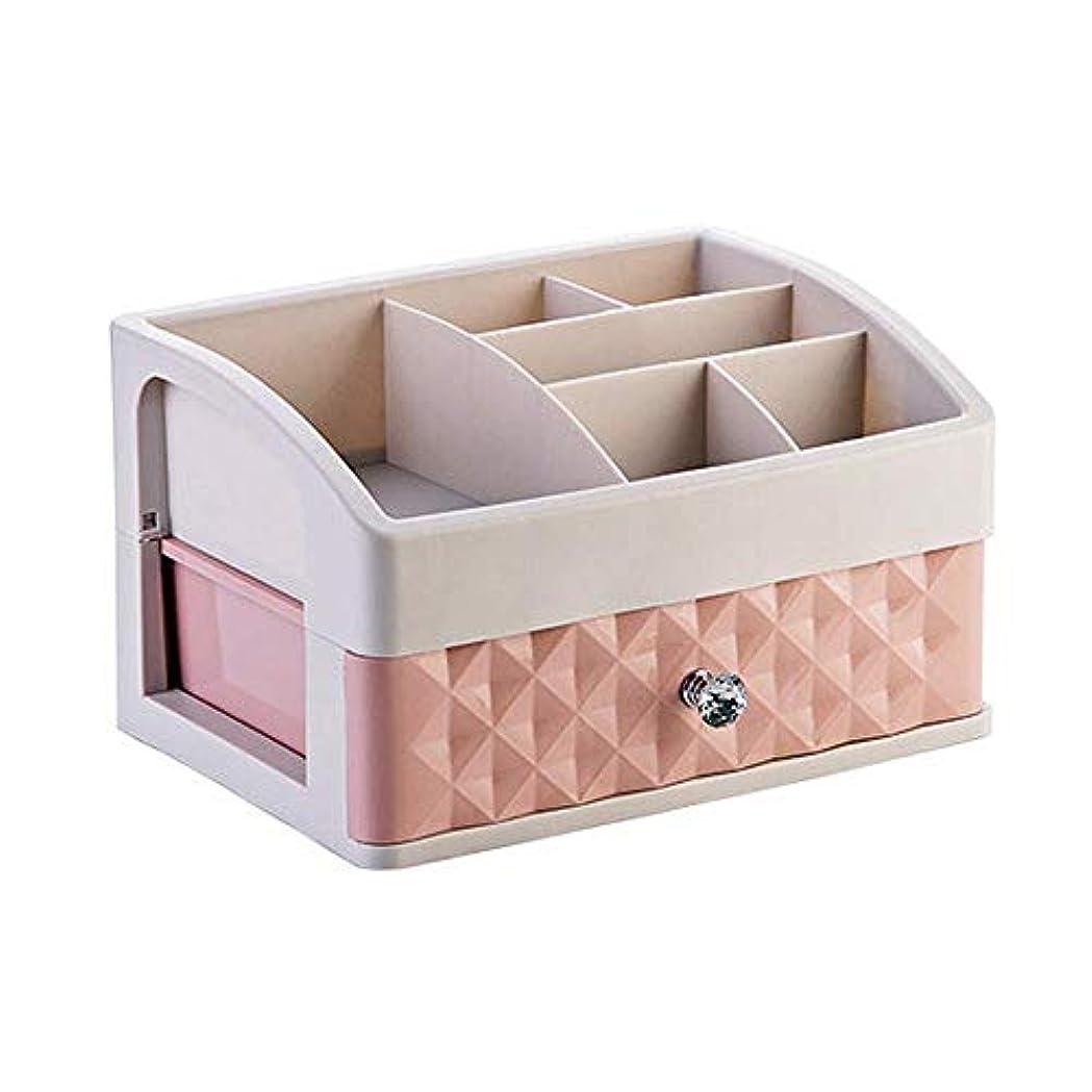 省略対話愛撫YWAWJ 引き出し化粧収納引き出し、プラスチックデスクトップ引き出しオーガナイザーデスクトップ化粧品収納ボックスヨーロッパ引き出し型ドレッシングテーブルジュエリースキンケア製品仕上げボックス (Color : Pink)
