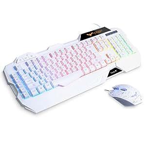 HAVIT HV-KB558CM LED有線 ゲームキーボードとマウスセット 多色のバックライト US Layout (白い)
