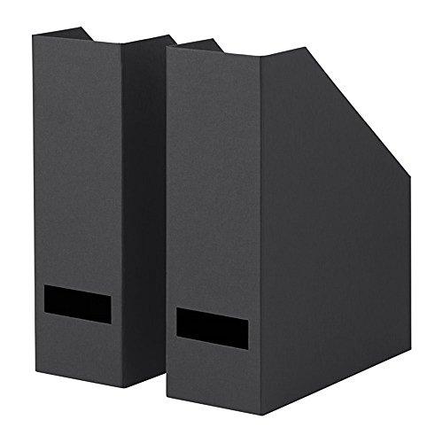 IKEA/イケア TJENA マガジンファイル30x25x10 cm2個セット ブラック 70395475