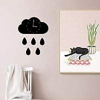 クリエイティブクラウド雨滴形状漫画幼稚園装飾的な壁時計アクリル寝室時計ミュート非ダニジュエリー27 * 15センチサイレント動き あなたが持っているに値する (色 : Black)