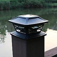 ポストフェンスソーラーライト、LEDパーク屋外ランプ、バルコニー用デッキスクエアキャップ防水風景、庭、庭(白)
