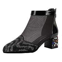 女性用サンダルハイヒールのブーツメッシュラウンドヘッドブーツの太い中空の通勤靴疲れていない非常に良い品質 (Color : Black, Size : 37)