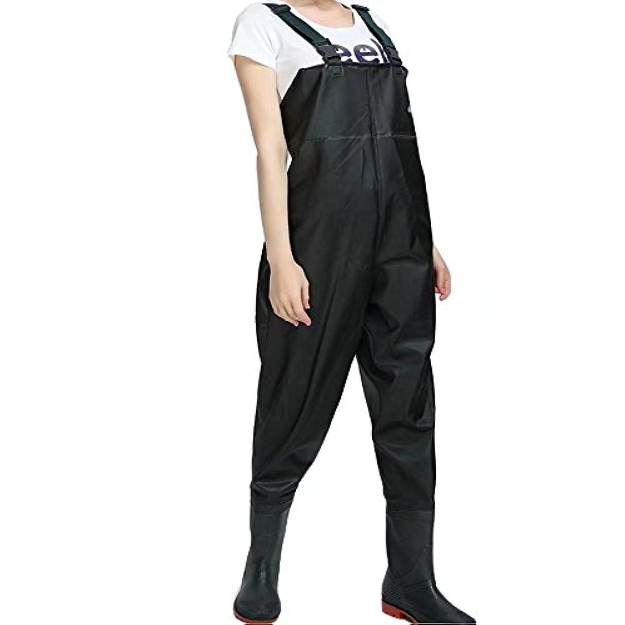 熟す規制日曜日PVC Chest Wadersの女性Bootfoot釣りWaders with Boots with 2ポケット調節可能なストラップブラック
