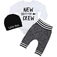 Fommy Newborn Baby Boy Clothes New to The Crew Letter Print Romper+Long Pants+Hat 3PCS Outfits Set