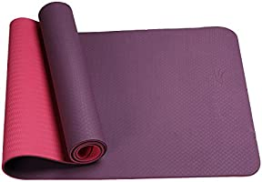 FrenzyBird Eco-Friendly,Reversible,Non-Slip,Double-Sided TPE Yoga Mat with Stretch Strap,Carry Strap and Mat Bag, Free...