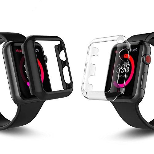 Apple Watch Series 3 バンパー ケース 2枚セット Benuo Apple Watch Series3/Series2 バンパーカバー PC 極薄軽量 落下防止 脱着簡単 iWatch 3/2 保護ケース 通用型 アップルウォッチ シリーズ 3/シリーズ 2 カバー 2枚入 ブラック1枚+クリア1枚 (38mm)