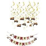 B Blesiya スパイラル飾り カー形状 トラクター車 渦巻きセット 誕生日バナー お祝い 部屋装飾