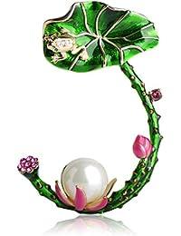MECHOSEN 春を感じる フラワー 蓮の花のブローチ ピンバッジ クリスタル 18k ゴールドメッキ グリーン 大きめ