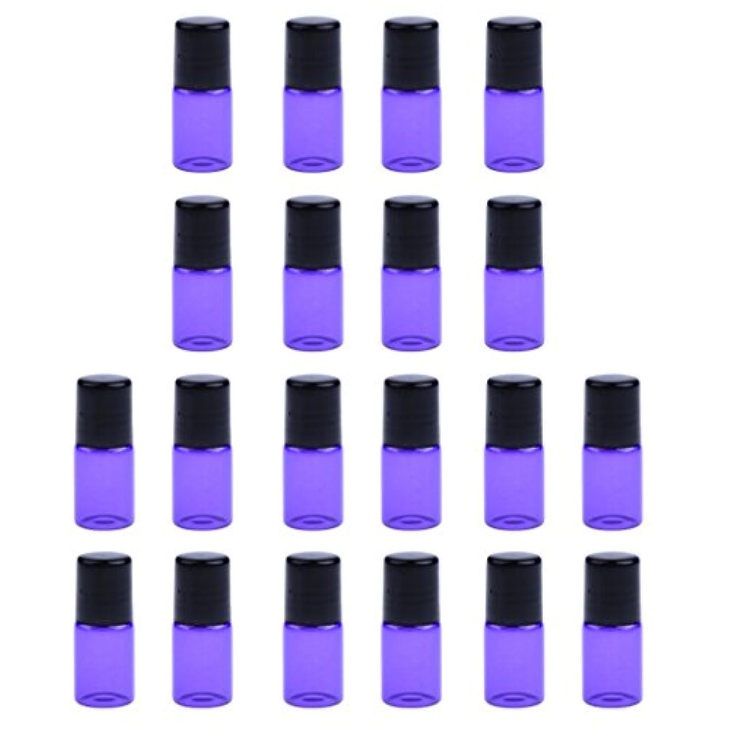 豊富な傑作本部約20個 空ボトル ガラスロール コスメ用 詰替え 容器 オイル 香水 ガラス瓶 プラスチックブラックキャップ 全4色3サイズ選べる - 紫, 1ML