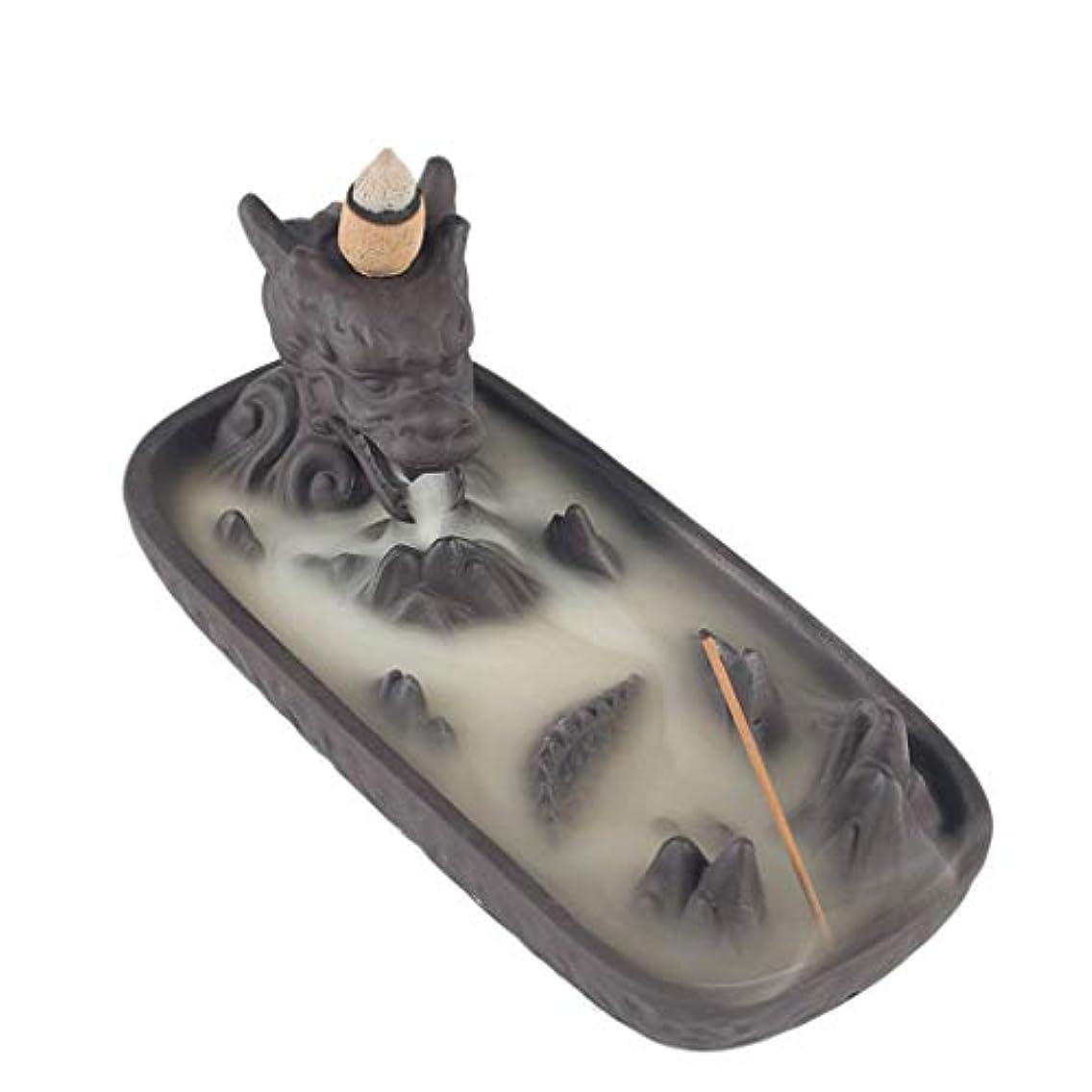 ディーラー考案するメモセラミックドラゴンセンサー家の装飾クリエイティブ煙逆流香バーナー香スティックホルダー香コーン香香ホルダー (Color : Gray, サイズ : 6.61*3.14*2.67 inches)