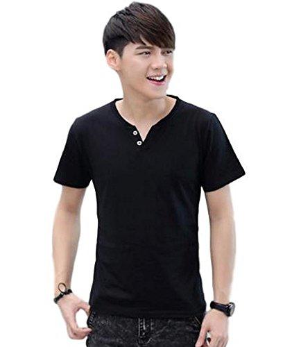 kimureaselectメンズ服ヘンリーネック半袖TシャツロンT無地カットソーシンプル(XLサイズ,ブラック)