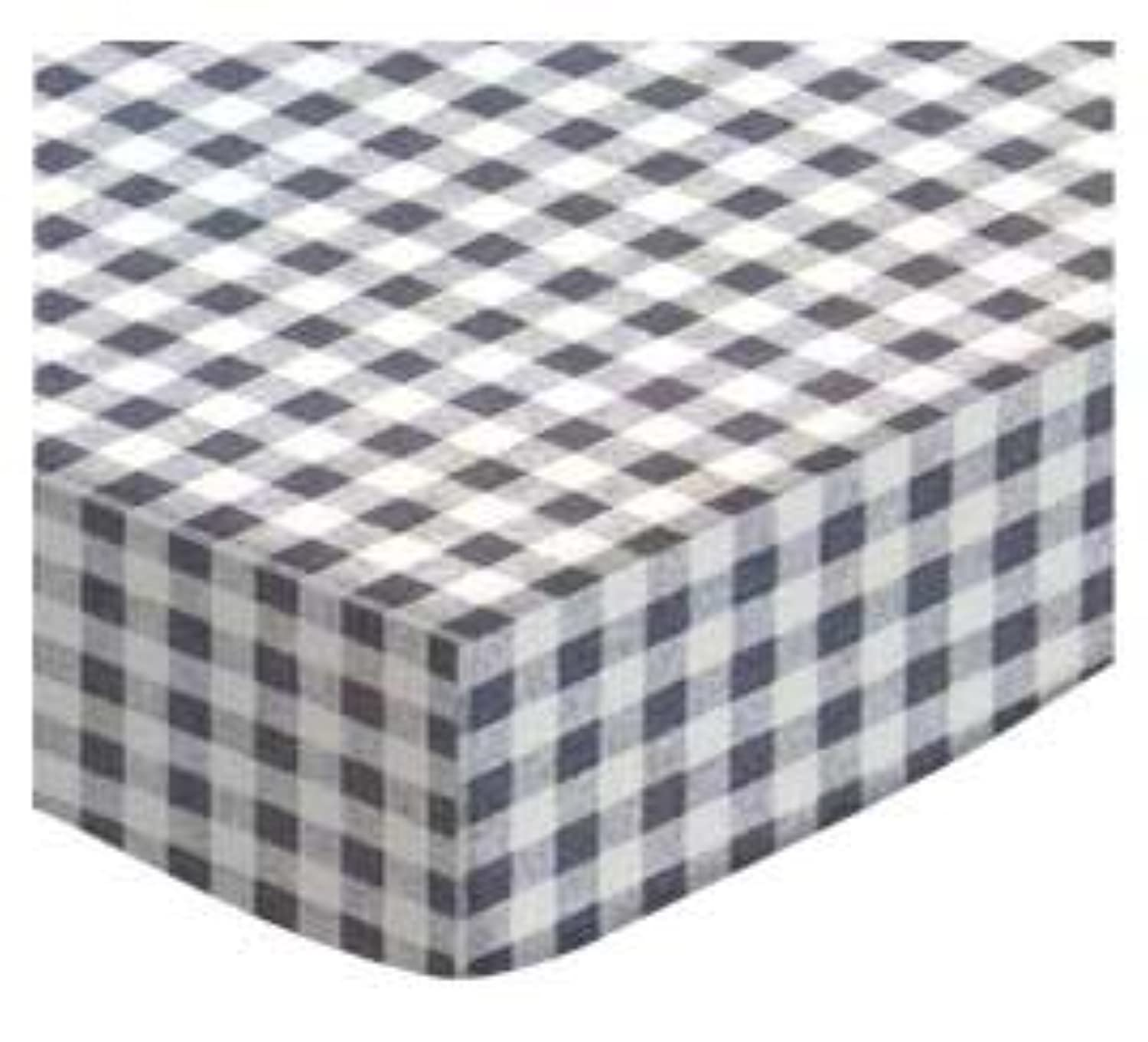 SheetWorld Fitted Square Playard Sheet 37.5 x 37.5 (Fits Joovy) - Grey Gingham Check - Made In USA by sheetworld