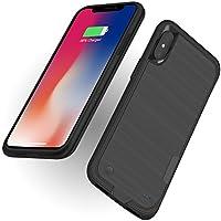 WELUV iPhone X用 バッテリー内蔵ケース4000mAh バッテリーケース 薄型 延長充電パワーバンク 超薄型 持ち出すやすいQIチャージ保護ケース リサイクル充電可能 余分150%バッテリーバックアップカバー黒ブラック