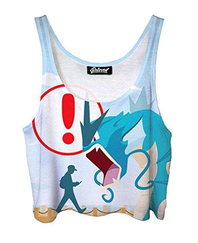 Belovedシャツロード画面Pokemon Crop Top???Premium All Over Print Graphic crops US サイズ: L