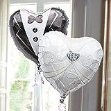 即日発送対応 結婚式 選べる定型文カード付 バルーン電報 【ドレス&タキシード】 (Happy Wedding !) ヘリウムガス入り2個 15791 15784