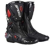 PRO SPEED p101新入荷 オートバイ レーシングブーツ バイク用ブーツ 靴 (ブラック, 44)