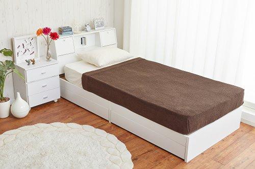 照明付き 収納ベッド 【超高密度ハイグレードポケットコイル】 ダブル ホワイト