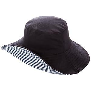 折りたためるリバーシブルUV帽子 ブラック×ボーダー