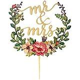 Agata ケーキトッパー ウエディング ブライダル 結婚式リーフ ケーキ トッパー ピック デコレーション 飾り カラフル happy wedding Mr&Mrs