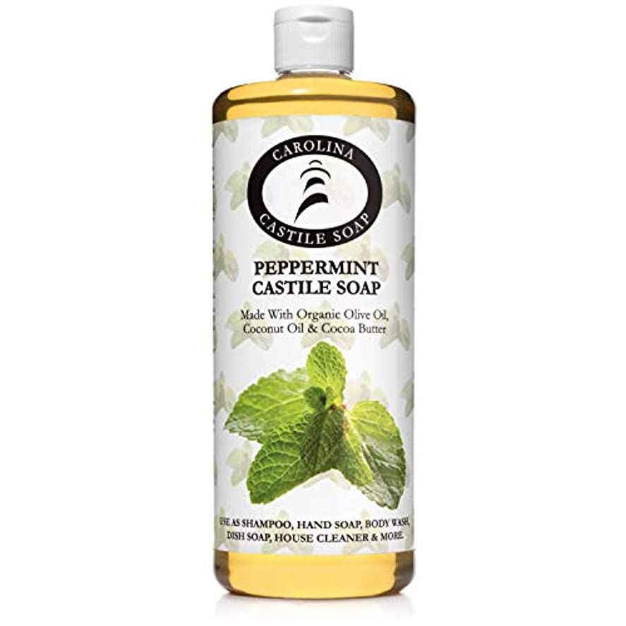 発行オープニング変更Carolina Castile Soap ペパーミントカスティーリャ石鹸オーガニックココアバターカロライナ州カスティーリャ 32オズ