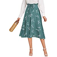 Milumia Women's Lace Up Paperbag Waist Plants Print High Waisted A Line Flared Midi Skirt