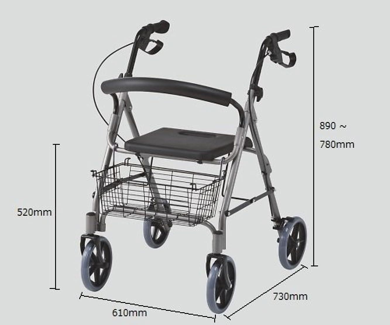 盗難投資句【パッセジャータ】 折りたたみ アルミ製 軽量 椅子付き シルバーカー 6段階高さ調節 歩行車 かご 付 耐荷重110kg SA0985121