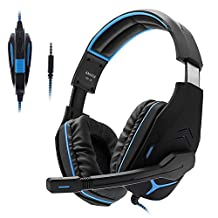 PS4 Headsets, Anivia AH18 Over-Ear Stereo Gaming Headset with Mic for Nintendo Switch, Xbox one, PC Computer, Noise Cancelling Headphones with Mic, Bass Surround, Soft Memory Earmuffs, Black Blue