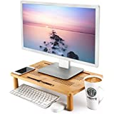 Monitor Stand Bamboo Newvante 4-use Stand PC Monitor Riser Laptop Tray Vented for Laptop/Computer Monitor/PC Monitor/Printer