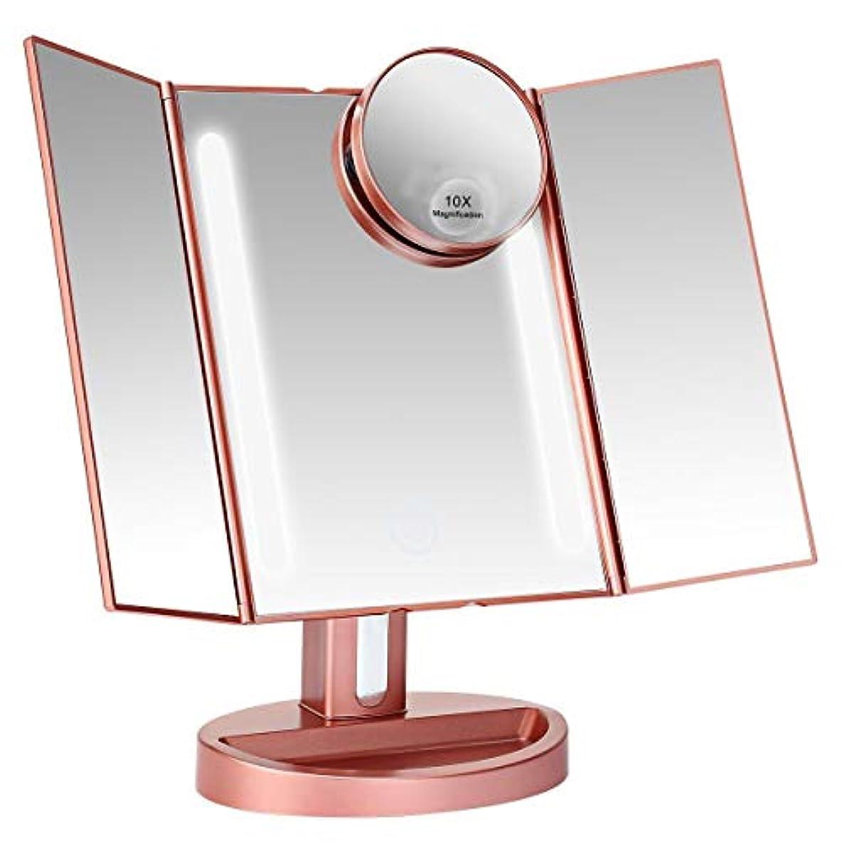 植物学チップシダ化粧鏡 明るさ調節 180度回転 LED三面鏡 折りたたみ式 10倍拡大鏡付き