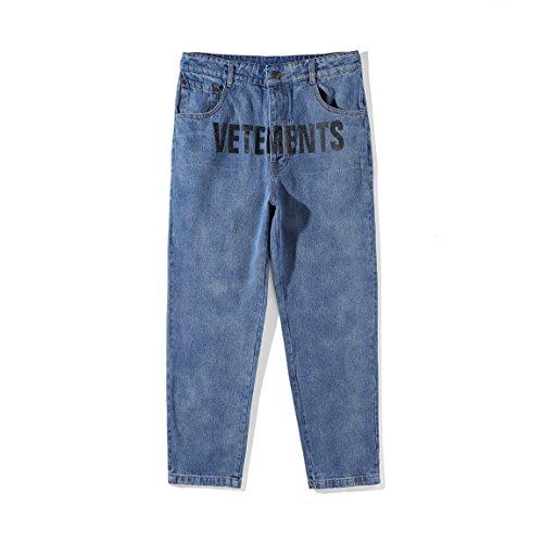 VETEMENTS x LEVI'S ハイウエストジーンズ ロゴプリント ブルー デニムパンツ スーパー ストレッチ ジーンズ